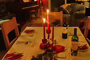 Candlelit dinner for Valentines day.